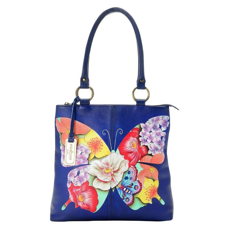 アンナバイアナシュカ メンズ トートバッグ バッグ Hand Painted Leather Zip Top Multi Compartment Shopper Tote Bag Butterfly Mosaic