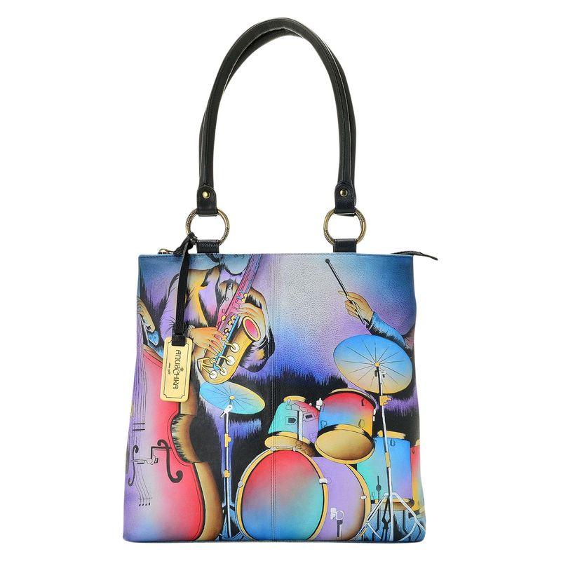 アンナバイアナシュカ メンズ トートバッグ バッグ Hand Painted Leather Zip Top Multi Compartment Shopper Tote Bag Jazz Trio
