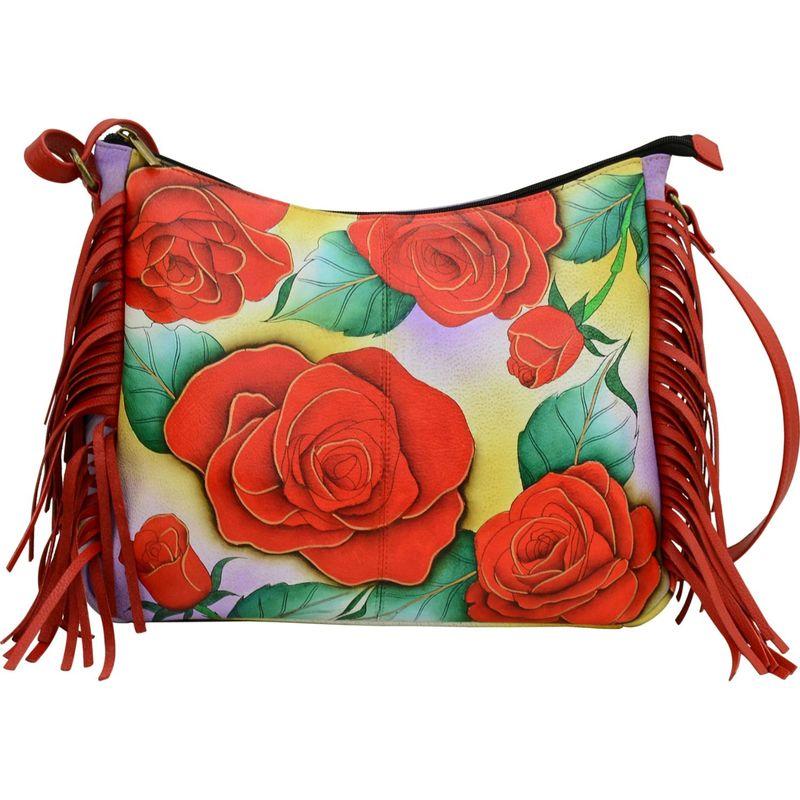 アンナバイアナシュカ メンズ ハンドバッグ バッグ Hand Painted Leather Fringed Hobo Romantic Rose
