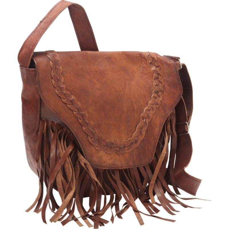 シャロレザーバッグス メンズ ボディバッグ・ウエストポーチ バッグ Leather Fringed Western Cross Body Bag Dark Brown