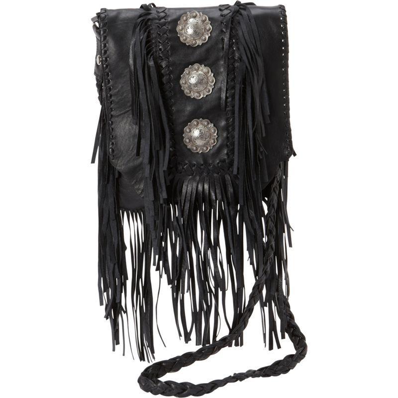 スカーリー メンズ ショルダーバッグ バッグ Full Flap with Three Conchos and Fringe Shoulder Bag Black