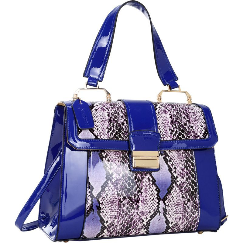 ダセイン メンズ トートバッグ バッグ Patent Faux Leather Fold-Over Lock Tote Royal Blue