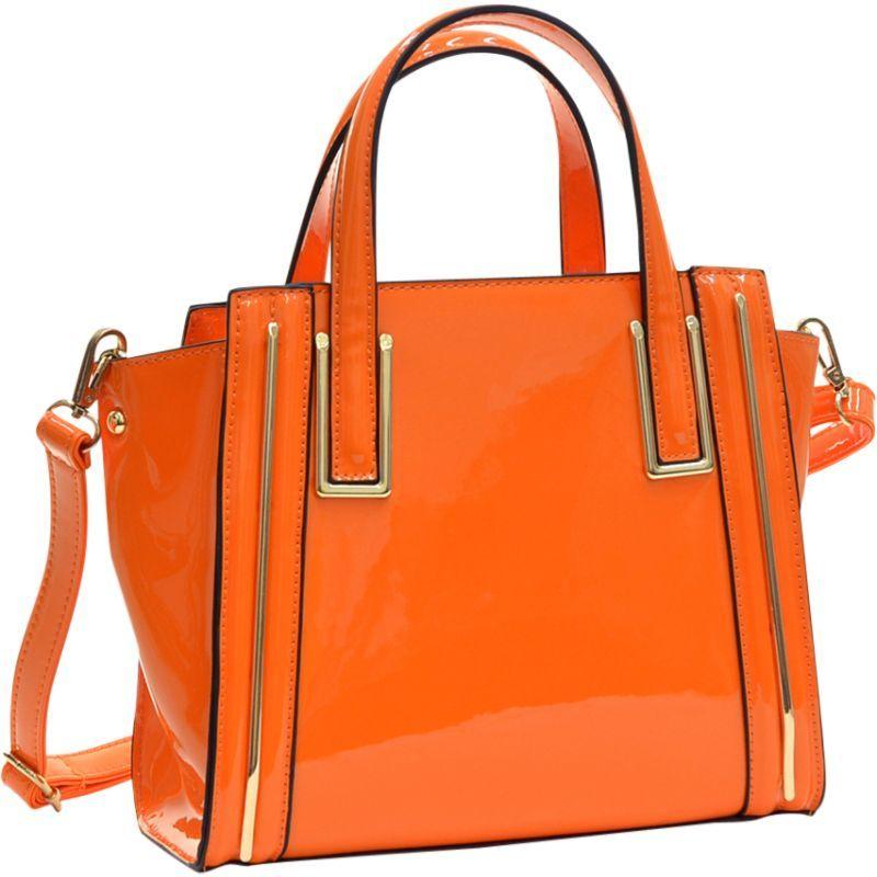 ダセイン メンズ トートバッグ バッグ Patent Leather Winged Tote Satchel Orange