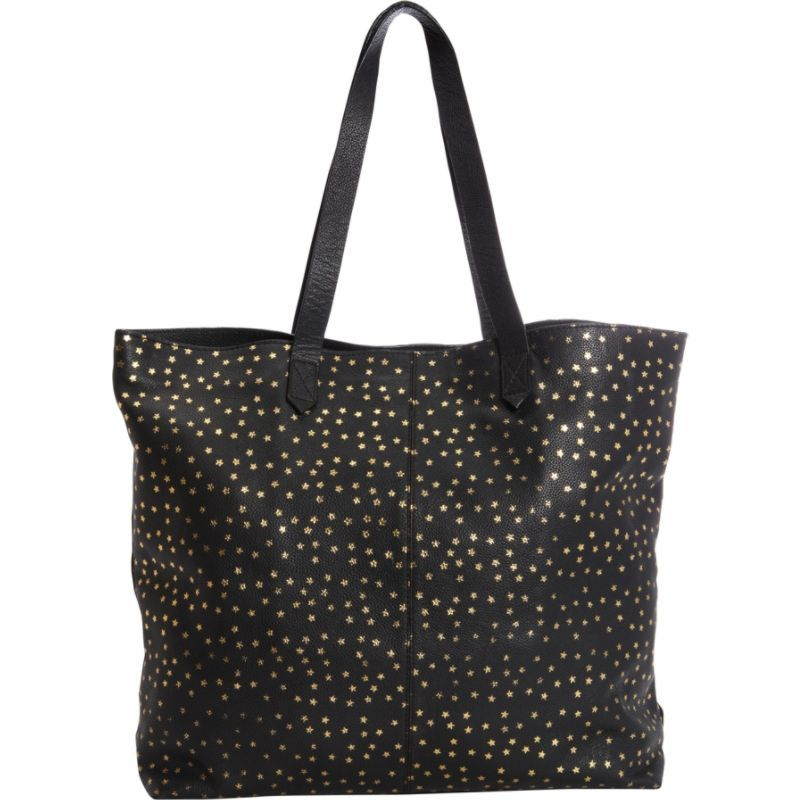 クレバ メンズ トートバッグ バッグ Leather Tote with Gold Foil Stars Black with Gold