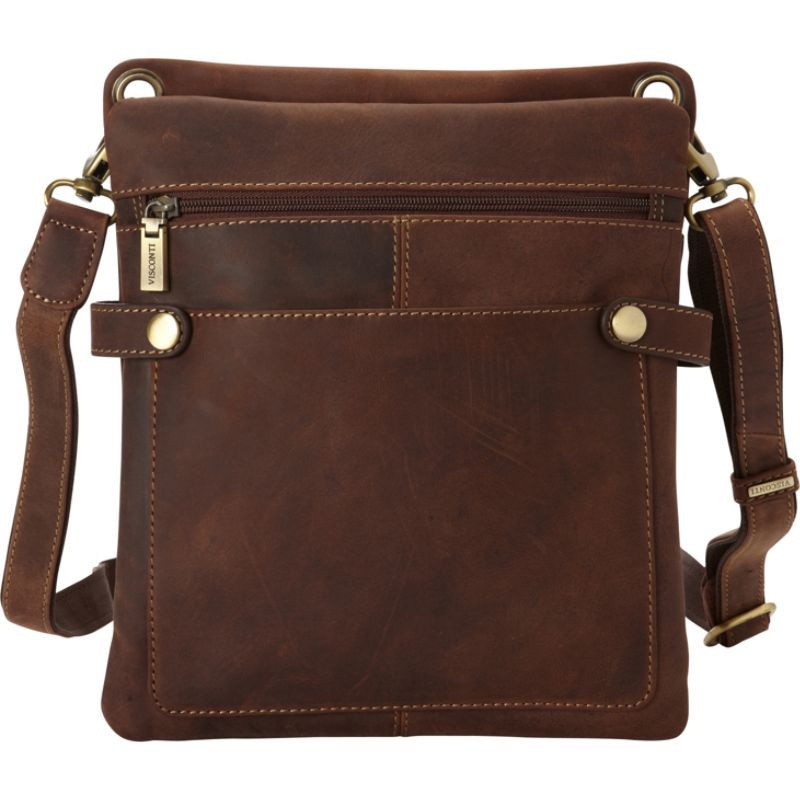 ビスコッティ メンズ ショルダーバッグ バッグ Distressed Leather Fashion Slim Crossbody Messenger Bag Oil Tan