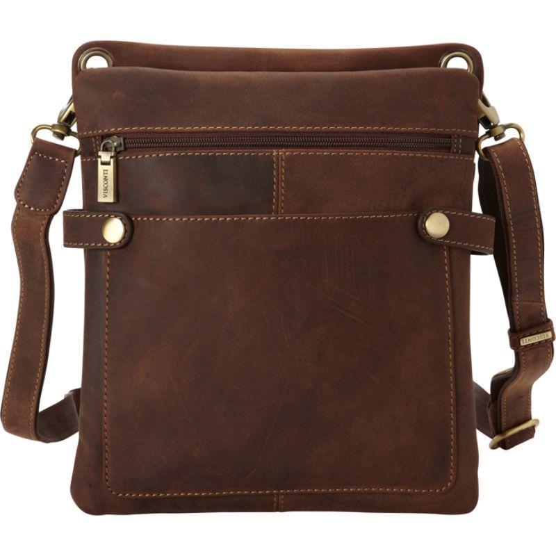 ビスコッティ メンズ ショルダーバッグ バッグ Distressed Leather Fashion Slim Crossbody Messenger Bag Oil Tan