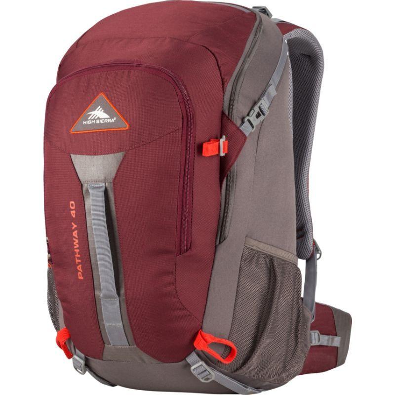 ハイシエラ メンズ バックパック・リュックサック バッグ Pathway 40L Hiking Pack Cranberry/Slate/Redrock