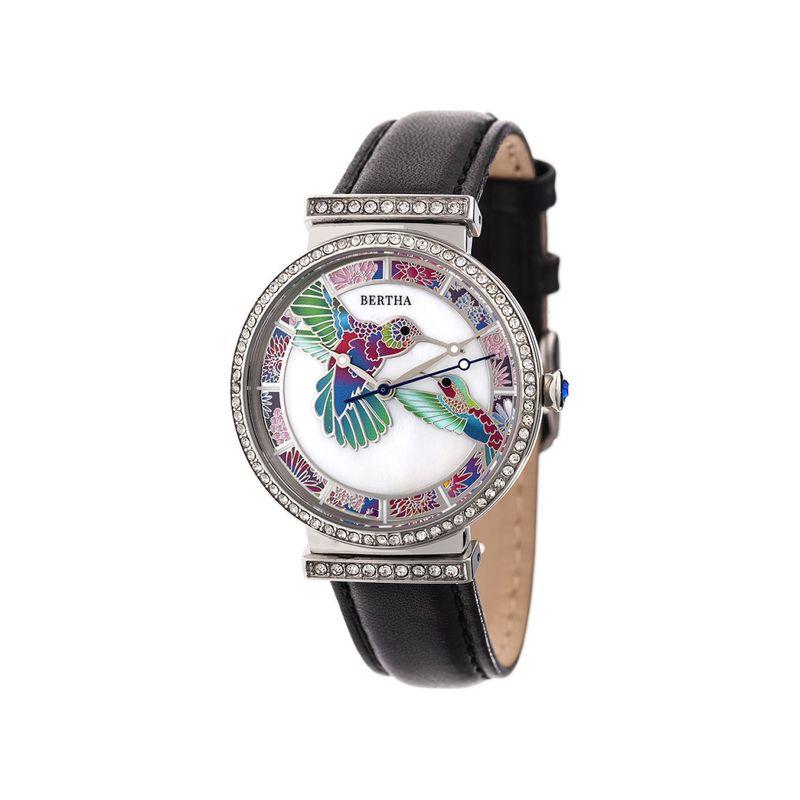ベルサ メンズ 腕時計 アクセサリー Womens Emily Mother-Of-Pearl Leather Watch Black