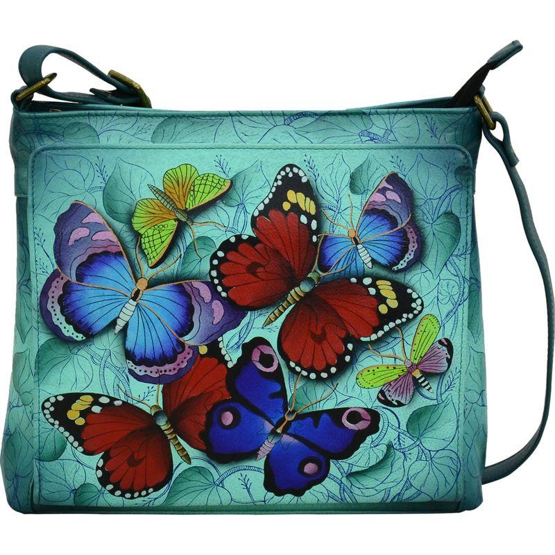 アンナバイアナシュカ メンズ ボディバッグ・ウエストポーチ バッグ Hand Painted Leather Organizer Crossbody Butterfly Beauty