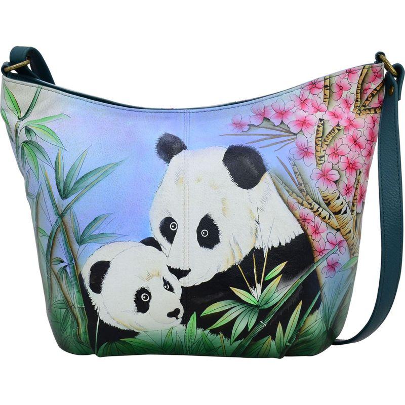 アンナバイアナシュカ メンズ ハンドバッグ バッグ Hand Painted Leather Medium Hobo Lovable Pandas