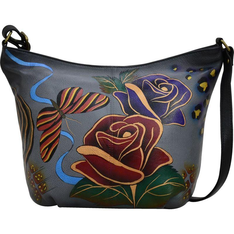 アンナバイアナシュカ メンズ ハンドバッグ バッグ Hand Painted Leather Medium Hobo Rose Safari Grey