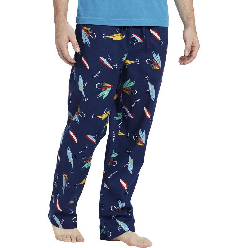 ライフイズグッド メンズ カジュアルパンツ ボトムス Men's Classic Sleep Pant S - Darkest Blue Fish