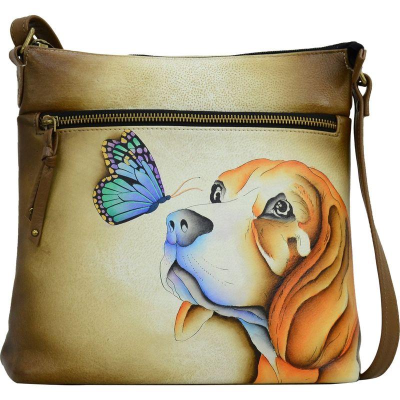アンナバイアナシュカ メンズ ボディバッグ・ウエストポーチ バッグ Hand Painted Leather Large Crossbody Puppy Love