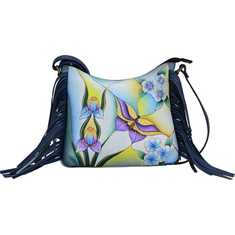 アンナバイアナシュカ メンズ ボディバッグ・ウエストポーチ バッグ Hand Painted Leather Fringed Crossbody Butterfly Glass Painting Blue