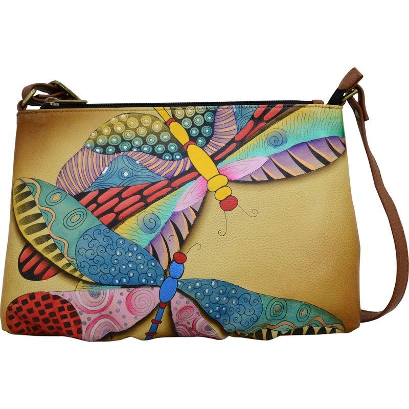 アンナバイアナシュカ メンズ ボディバッグ・ウエストポーチ バッグ Hand Painted Leather Wide Crossbody Dancing Dragonflies