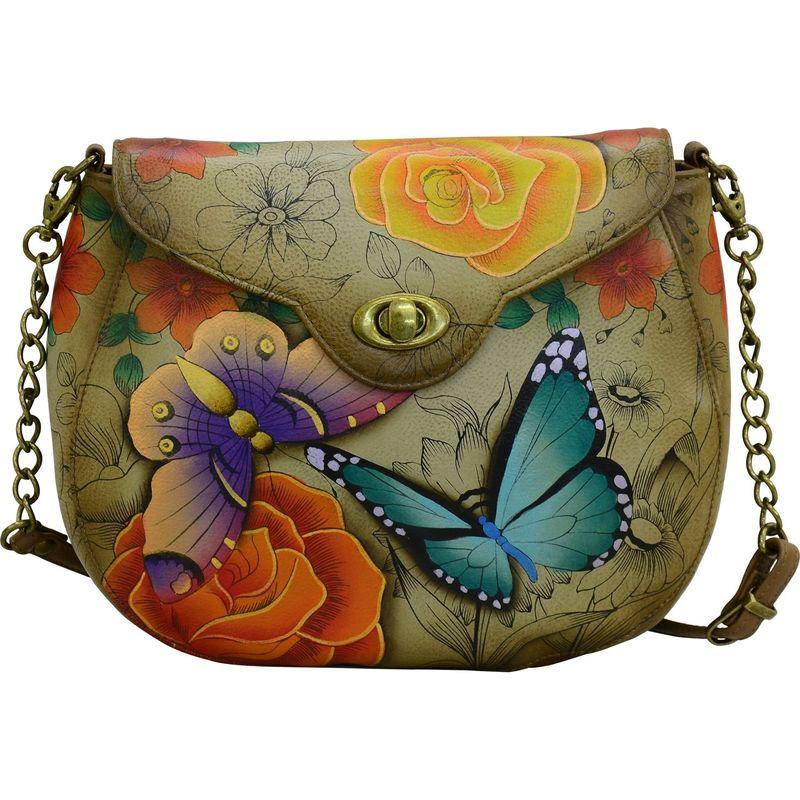 アンナバイアナシュカ メンズ ショルダーバッグ バッグ Hand Painted Leather Flap Shoulder Bag Floral Paradise Tan