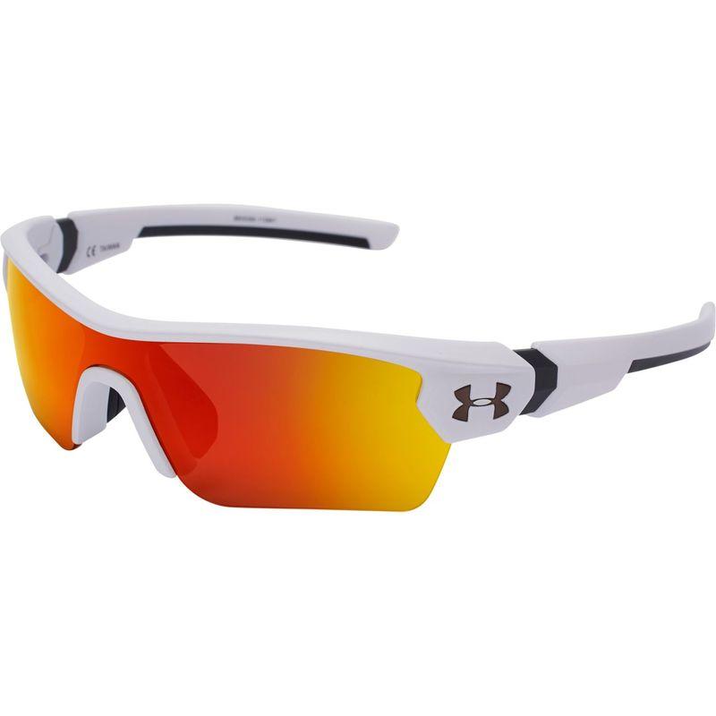 アンダーアーマー メンズ サングラス・アイウェア アクセサリー Youth Menace Sunglasses Satin White/Charcoal Frame/Gray/Orange Multiflecti