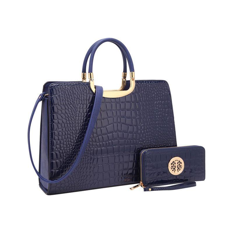 ダセイン メンズ ハンドバッグ バッグ Fashion Patent Croco Briefcase Satchel with Matching Wallet Blue