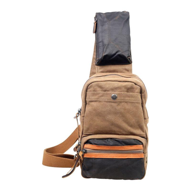 ティエスディー メンズ ショルダーバッグ バッグ Tapa Canvas Sling Bag Brown