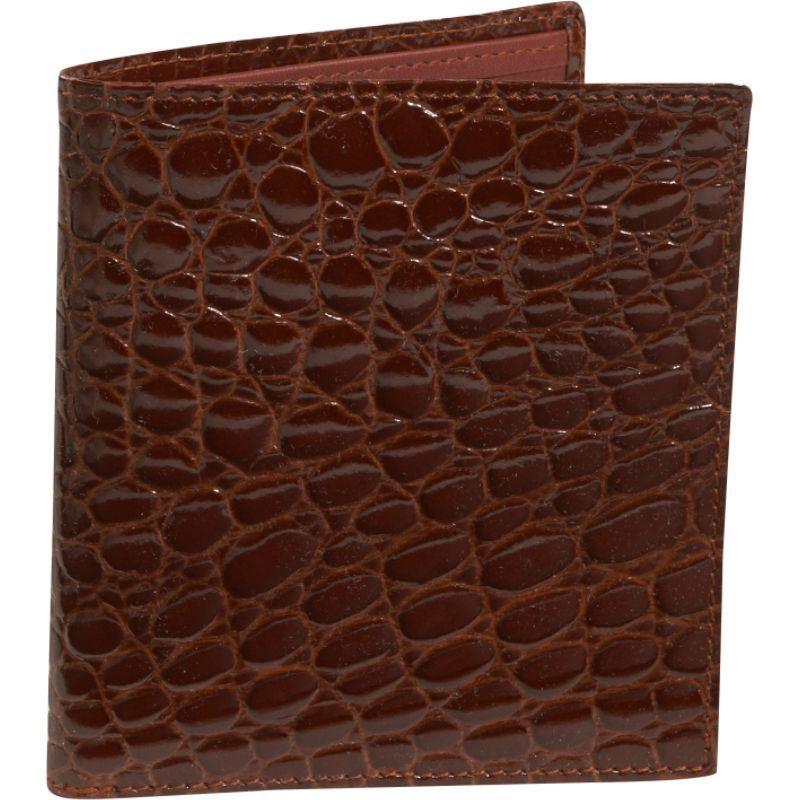 バッドレザー メンズ 財布 アクセサリー Crocodile Bidente Credit Card Hipster Cognac