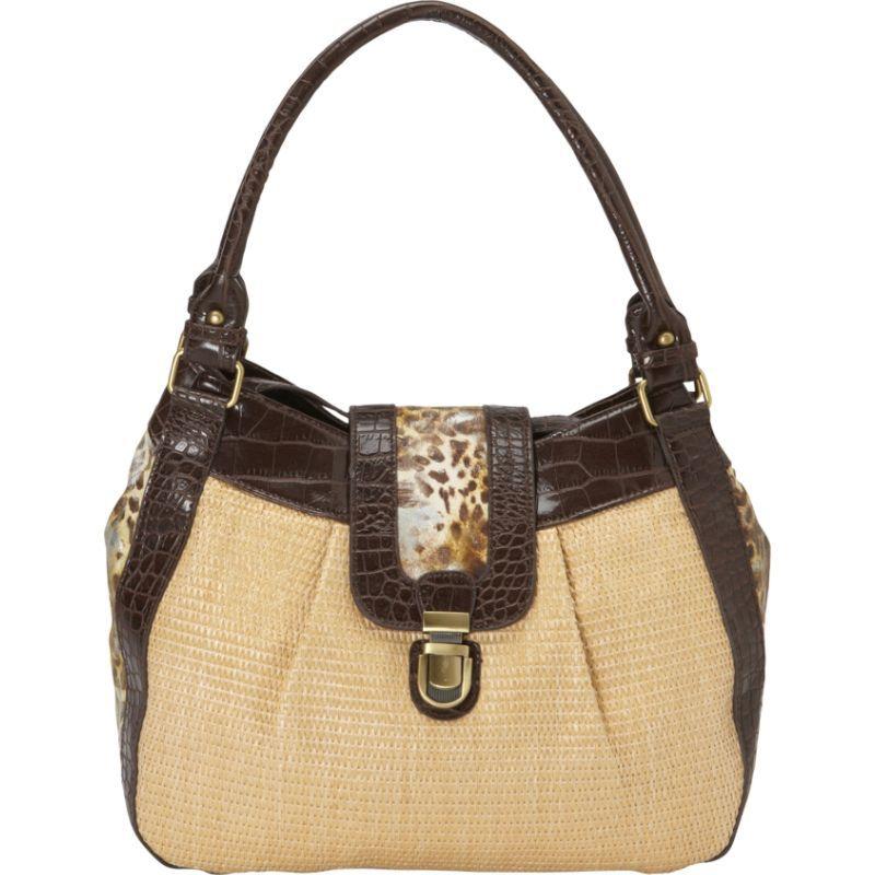 ドンナベラデザインズ メンズ ショルダーバッグ バッグ Shenzi Straw & Animal Print Shoulder Bag Brown Cheetah