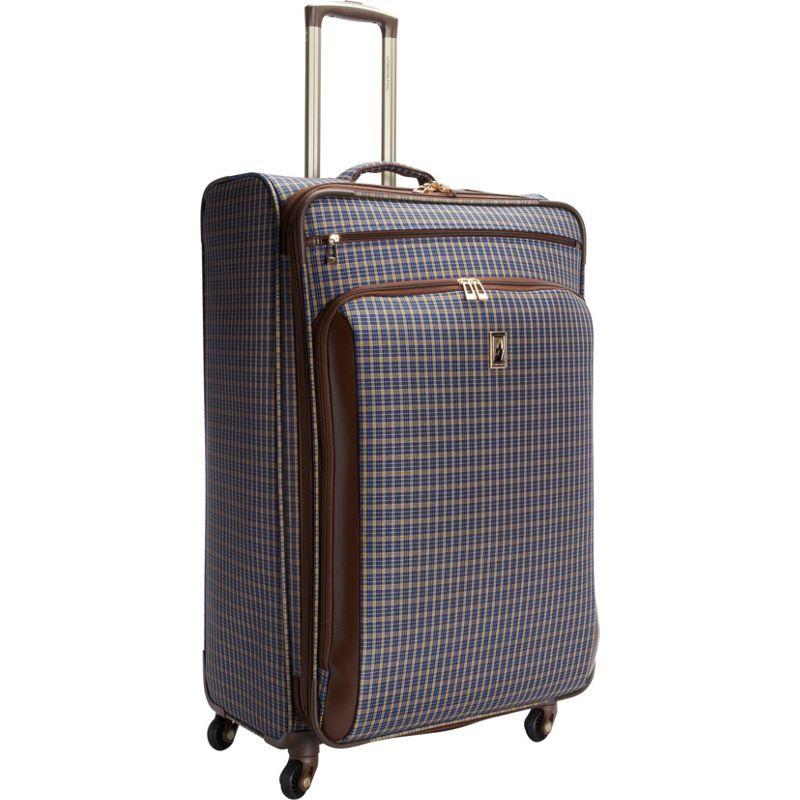 ロンドンフォグ メンズ スーツケース バッグ Kensington 29 Expandable Spinner Blue Tan Plaid