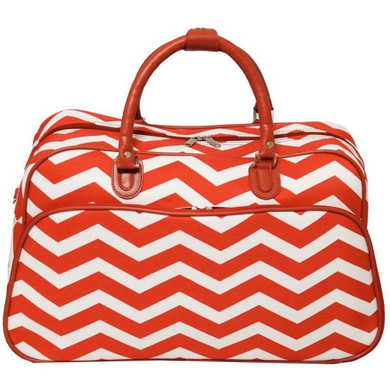 ワールドトラベラー メンズ スーツケース バッグ Chevron 21 Carry-On Duffel Bag Orange White Chevron
