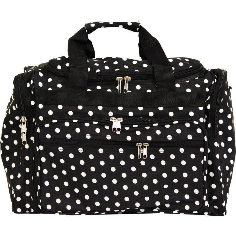 ワールドトラベラー メンズ スーツケース バッグ Dots 22 Travel Duffle Bag Black White Dot