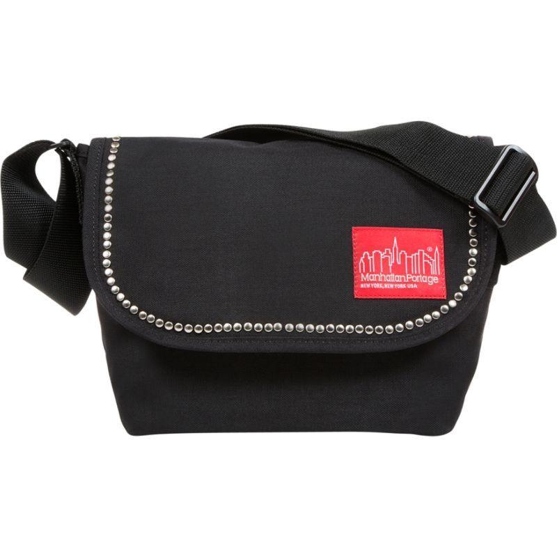 マンハッタンポーテージ メンズ ショルダーバッグ バッグ Studded Nylon Messenger Bag Jr Black