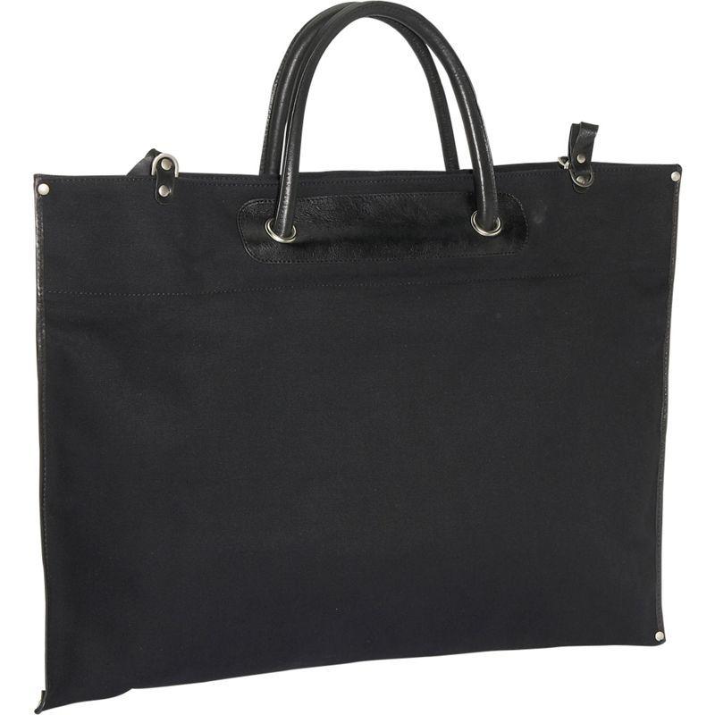 クレバ メンズ スーツケース バッグ Canvas / Leather Roll-Up Tote Black Nylon w/Black Trim