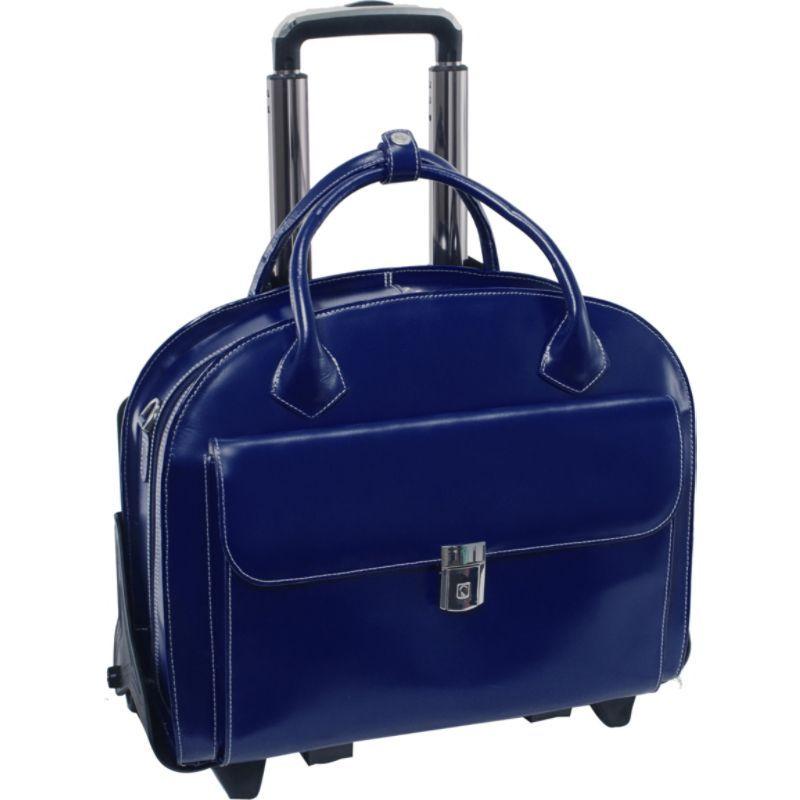 マックレイン レディース スーツケース バッグ W Series Glen Ellyn Leather Detachable-Wheeled Women's 15.4 Laptop Case Navy