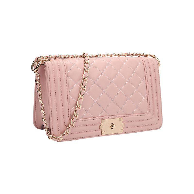 ダセイン メンズ ボディバッグ・ウエストポーチ バッグ Quilted Crossbody Bag with Intertwined Leather Gold-Tone Chain Straps Pink