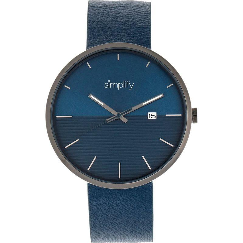 シンプリファイ メンズ 腕時計 アクセサリー The 6400 Leather-Band Watch with Date Blue/Gunmetal/Blue