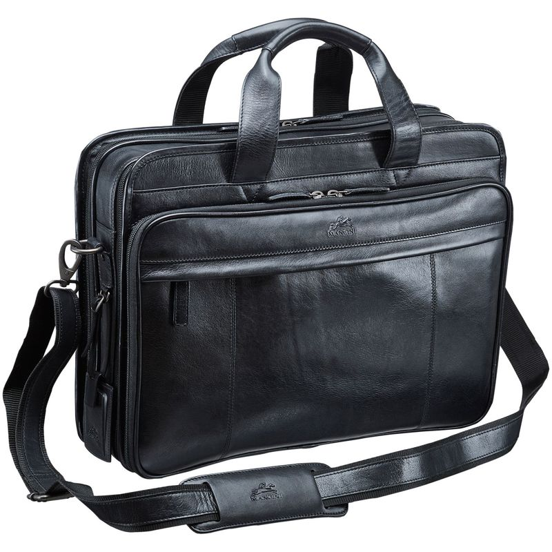 マンシニレザーグッズ メンズ スーツケース バッグ Vanizia Laptop/Tablet Double Compartment Briefcase with RFID Black
