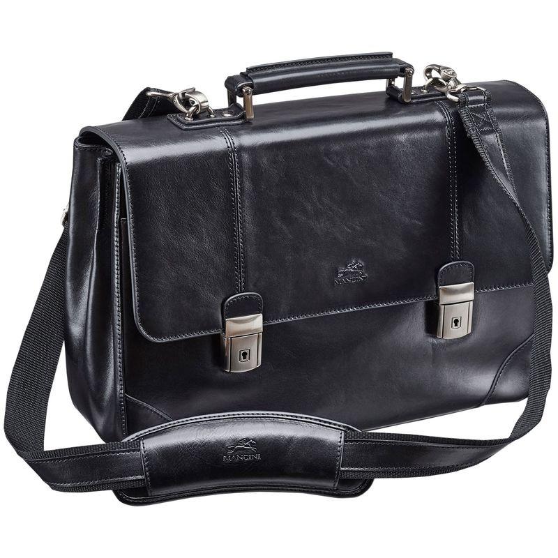 マンシニレザーグッズ メンズ スーツケース バッグ Signature Laptop/Tablet Double Compartment Briefcase Black