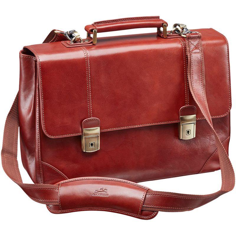 マンシニレザーグッズ メンズ スーツケース バッグ Signature Laptop/Tablet Double Compartment Briefcase Brown