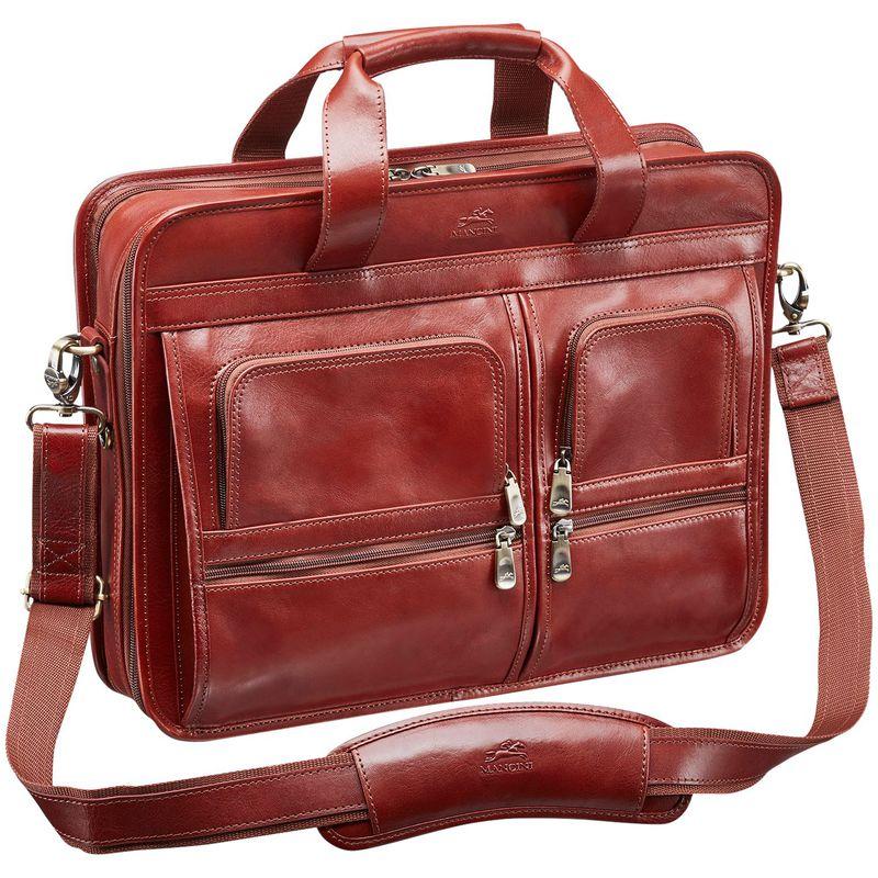 マンシニレザーグッズ メンズ スーツケース バッグ Signature Laptop/Tablet Double Compartment Top Zipper Briefcase Brown