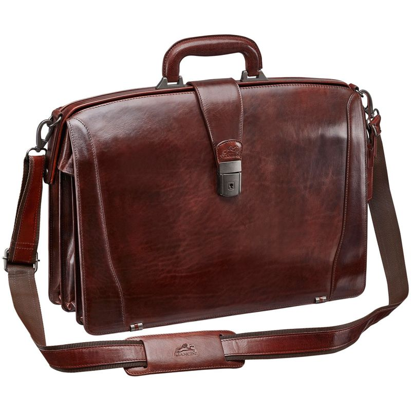 マンシニレザーグッズ メンズ スーツケース バッグ Vanizia Laptop Litigator Briefcase with RFID Brown