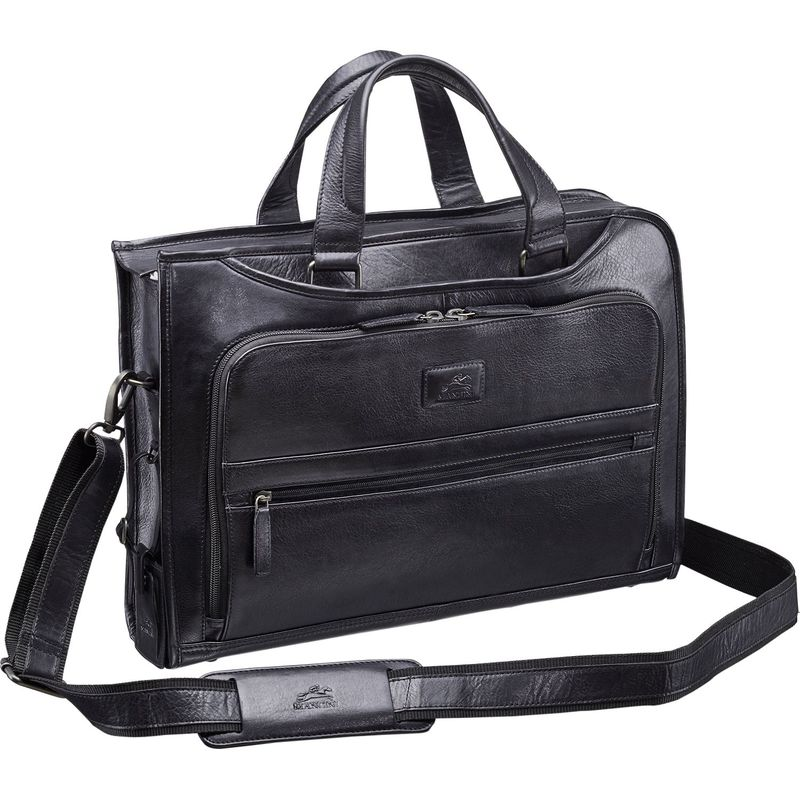 マンシニレザーグッズ メンズ スーツケース バッグ Vanizia Laptop/Tablet Single Compartment Briefcase with RFID Black