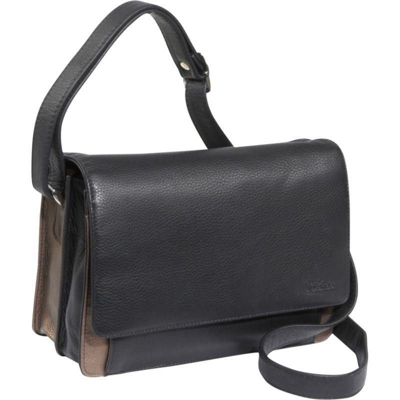 デレクアレクサンダー メンズ ショルダーバッグ バッグ 3/4 Flap Medium Organizer Black/Bronze