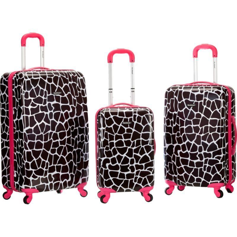 ロックランド メンズ スーツケース バッグ Safari 3 Piece Hardside Spinner Set Pink Giraffe