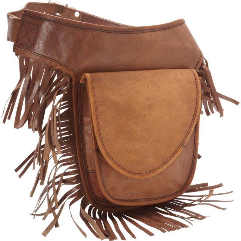 シャロレザーバッグス メンズ ボディバッグ・ウエストポーチ バッグ Leather Fringed Adjustable Hip Bag Brown