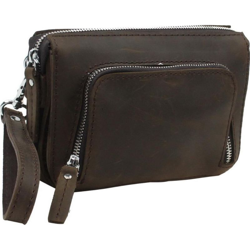 ヴァガボンドトラベラー メンズ セカンドバッグ・クラッチバッグ バッグ 8 Leather Wristlet Dark Brown
