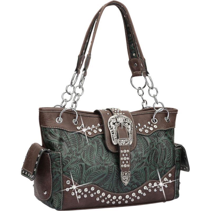 ダセイン メンズ ショルダーバッグ バッグ Western Style Rhinestone Buckle Camo Handbag Dark Green/Coffee