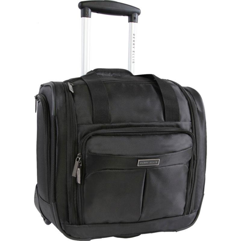 ペリーエリス メンズ スーツケース バッグ Excess 9-Pocket Underseat Rolling Tote Carry-On Bag Black