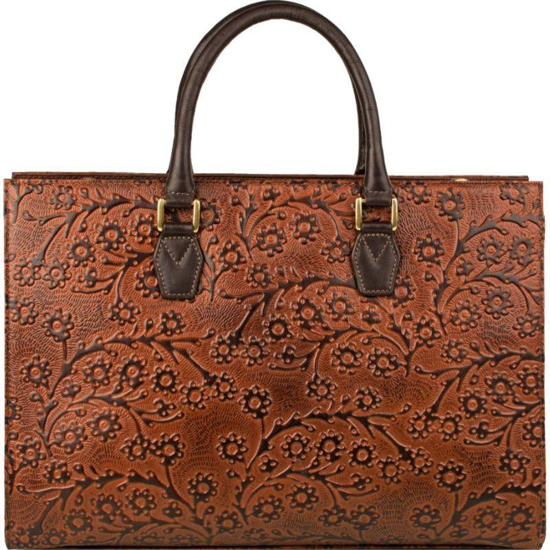 スカーリー メンズ ショルダーバッグ バッグ Floral Embossed Tan Leather Shoulder Bag Tan