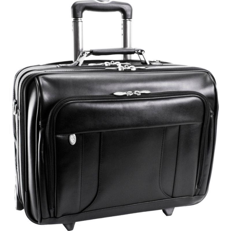 マックレイン メンズ スーツケース バッグ Lasalle Leather 15.6 Wheeled Laptop Overnighter Black
