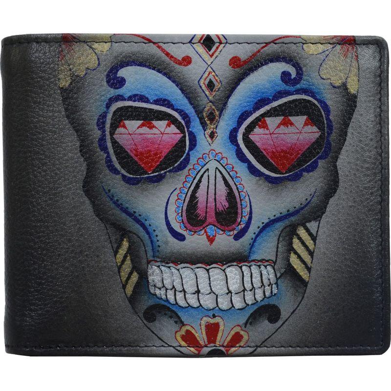 アヌシュカ メンズ 財布 アクセサリー Hand Painted Leather Two Fold Men's RFID Wallet Calaveras de Az?car