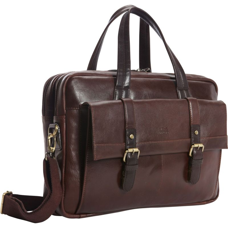 マンシニレザーグッズ メンズ スーツケース バッグ RFID Secure Double Compartment Laptop Briefcase - Exclusive Brown