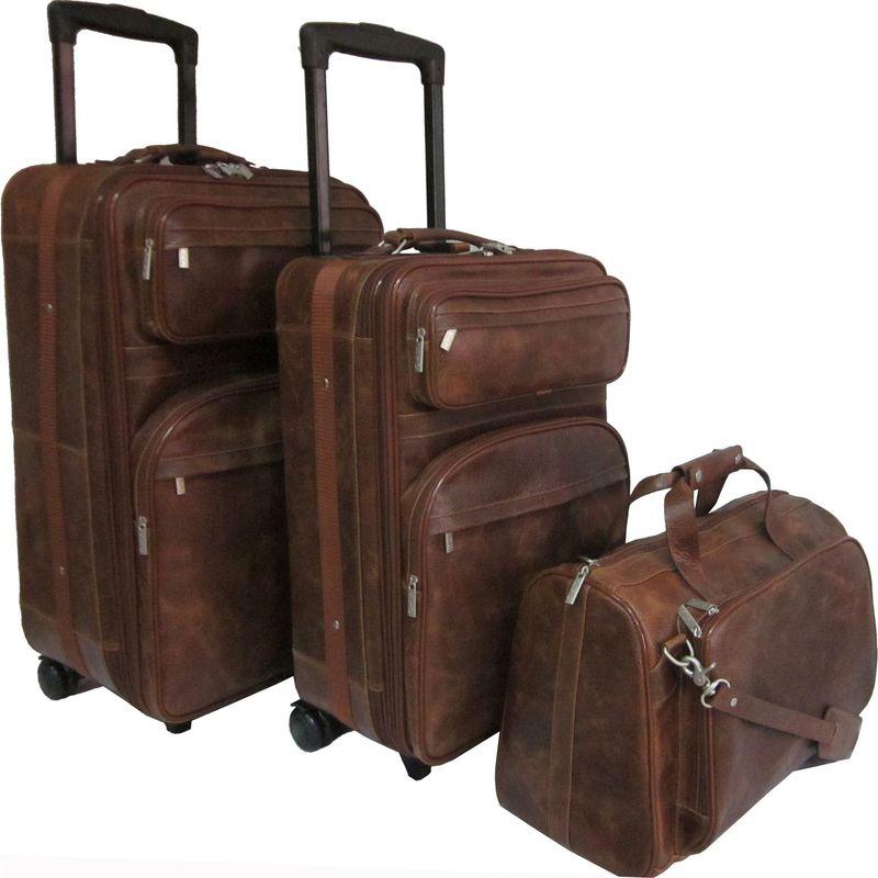 アメリ メンズ スーツケース バッグ Leather Three Piece Set Traveler Waxy Brown